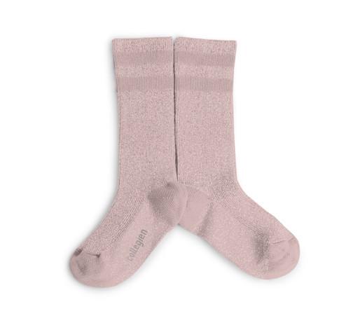 f01f34ac2f5 Collégien Chaussettes Hautes à rayures sport chic Rose Quartz - knee ...